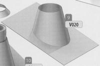Dakplaat: 5-30 graden loden slab (pannen), diameter 180 mm  Ø180mm