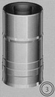 250 mm Element met vast vertrek, diameter 080/125 mm  TWIN /p.stuk