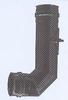 Bocht: 90 graden vertrekbocht voor pellets, diameter 100 mm Ø100mm