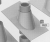 Dakplaat: 30-45 graden loden slab (pannen), diameter 230 mm Ø230mm
