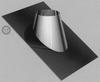 Dakplaat 30-45 graden RVS/inox, diameter 130/200 mm TWIN /p.stuk